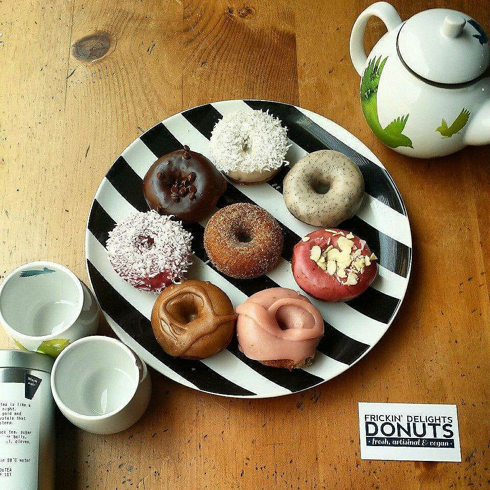 """Photo of Frickin' Delights Donuts  by <a href=""""/members/profile/vegetariangirl"""">vegetariangirl</a> <br/>assorted donuts <br/> July 18, 2017  - <a href='/contact/abuse/image/96440/281619'>Report</a>"""