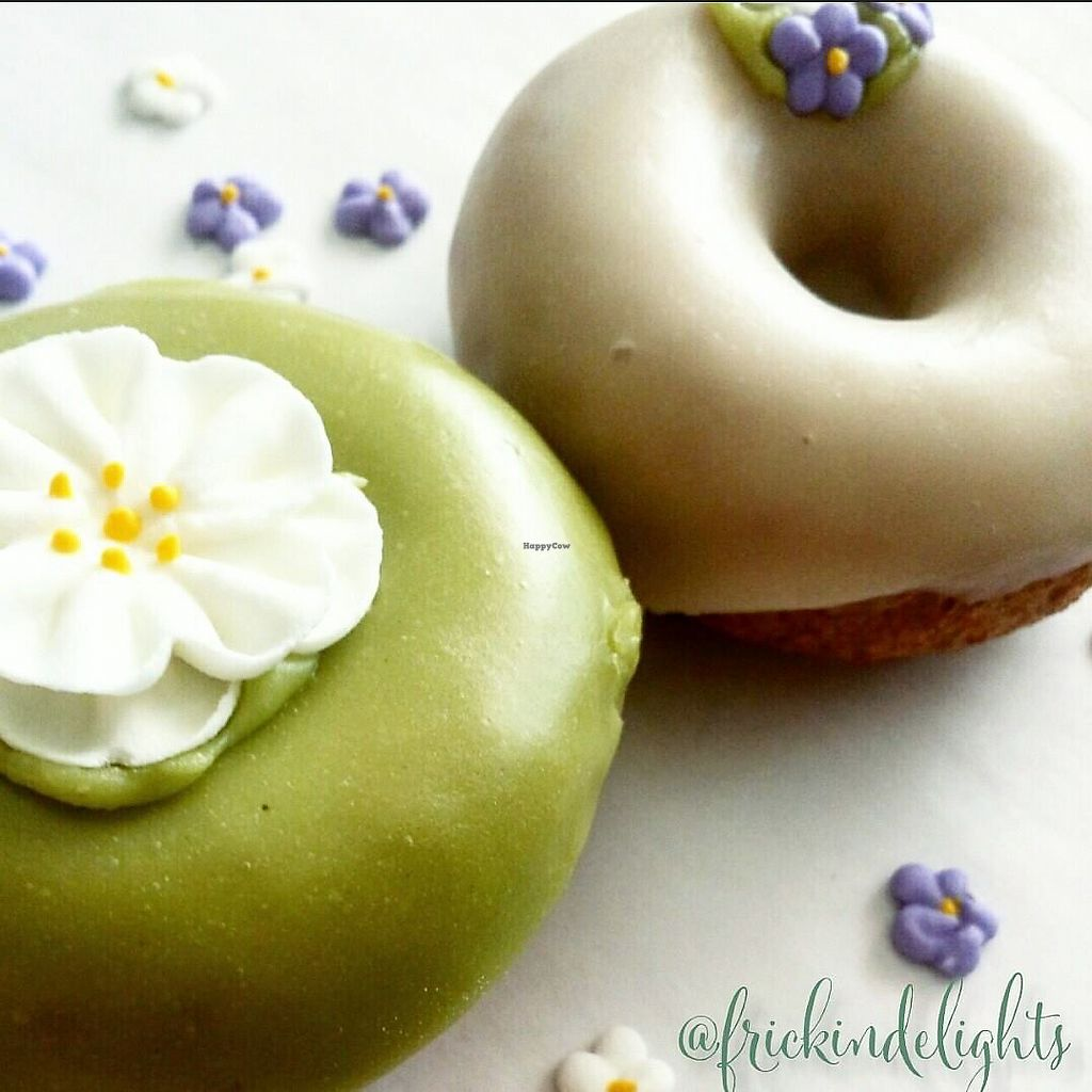 """Photo of Frickin' Delights Donuts  by <a href=""""/members/profile/vegetariangirl"""">vegetariangirl</a> <br/>pair of donuts <br/> July 18, 2017  - <a href='/contact/abuse/image/96440/281620'>Report</a>"""