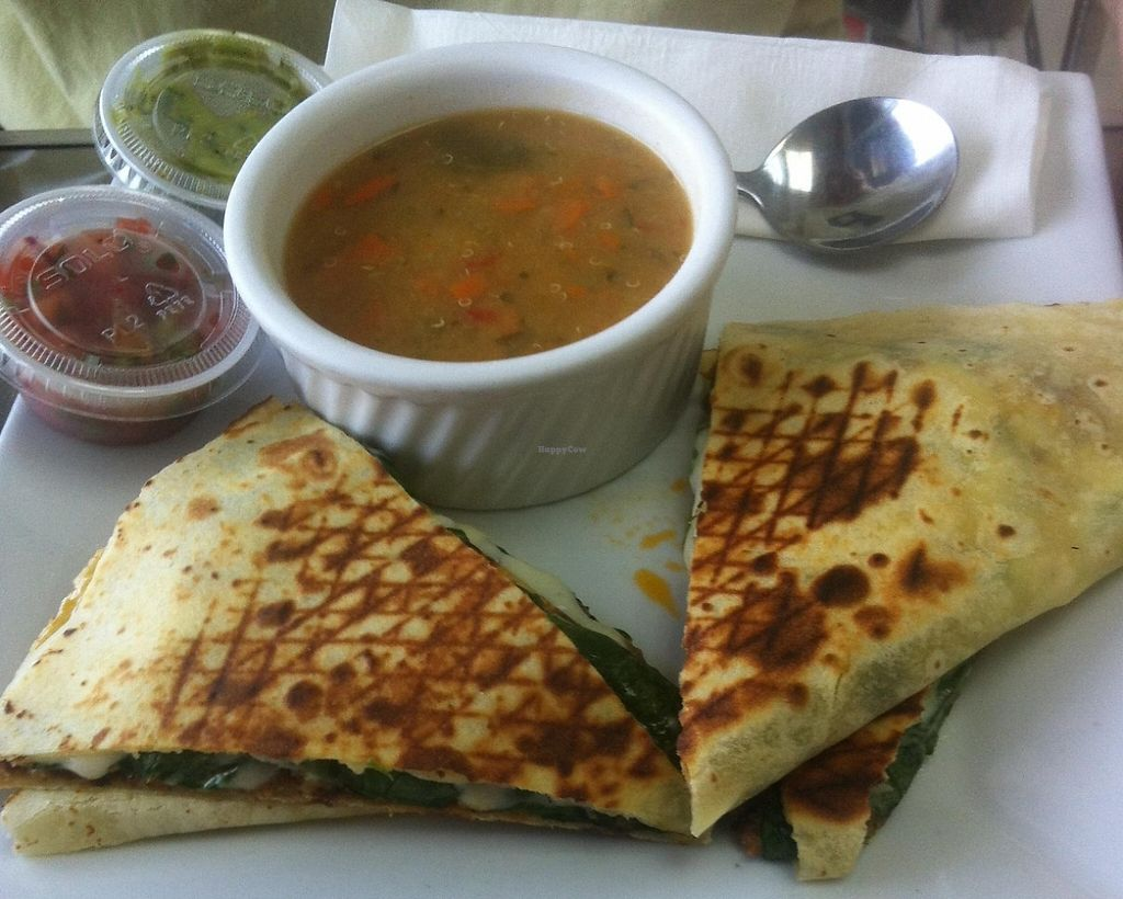 """Photo of Apple a Day Store & Cafe  by <a href=""""/members/profile/Emzilla"""">Emzilla</a> <br/>Gluten free chipotle burger quesadilla <br/> October 1, 2015  - <a href='/contact/abuse/image/9647/196685'>Report</a>"""