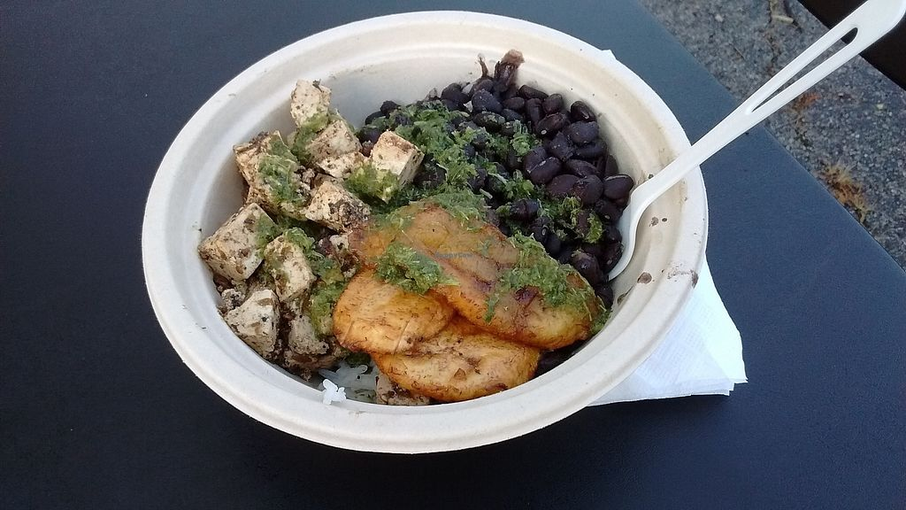 "Photo of CLOSED: Sobremesa Street Kitchen - Food Truck  by <a href=""/members/profile/exMeatEater"">exMeatEater</a> <br/>Jerk Tofu in a bio-degradable bowl <br/> August 12, 2017  - <a href='/contact/abuse/image/96502/292098'>Report</a>"