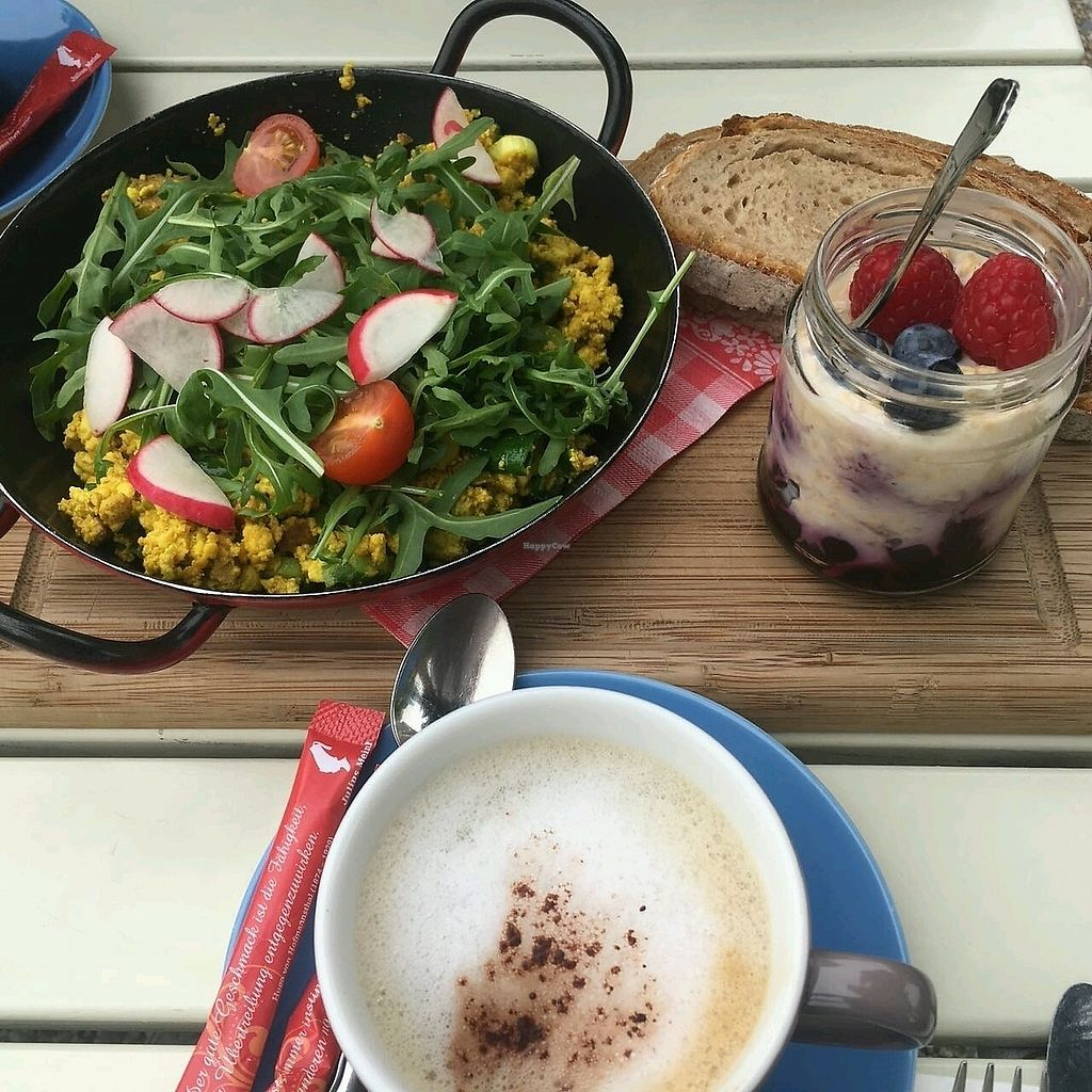 """Photo of Landtmann's Jausen Station  by <a href=""""/members/profile/Wilkou"""">Wilkou</a> <br/>Tofu scramble,  overnight oats and Cappuccino with rice milk <br/> April 16, 2018  - <a href='/contact/abuse/image/96521/386893'>Report</a>"""