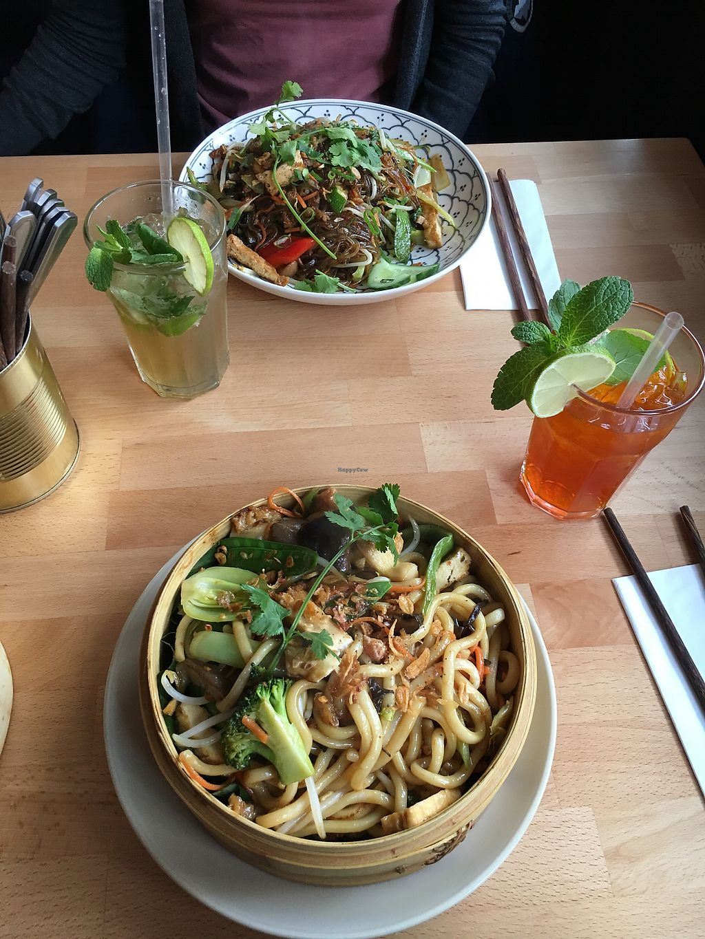 """Photo of +84 Asian Restaurant  by <a href=""""/members/profile/JouniK%C3%A4rpp%C3%A4"""">JouniKärppä</a> <br/>Tofu, seitan with noodles. Golden girl drink <br/> February 25, 2018  - <a href='/contact/abuse/image/96619/363709'>Report</a>"""