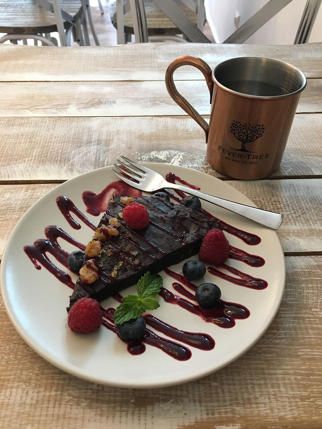 """Photo of Veggiezz - Opernring  by <a href=""""/members/profile/LilyHarper"""">LilyHarper</a> <br/>Chocolate brownie and earl grey tea <br/> September 7, 2017  - <a href='/contact/abuse/image/96634/301793'>Report</a>"""