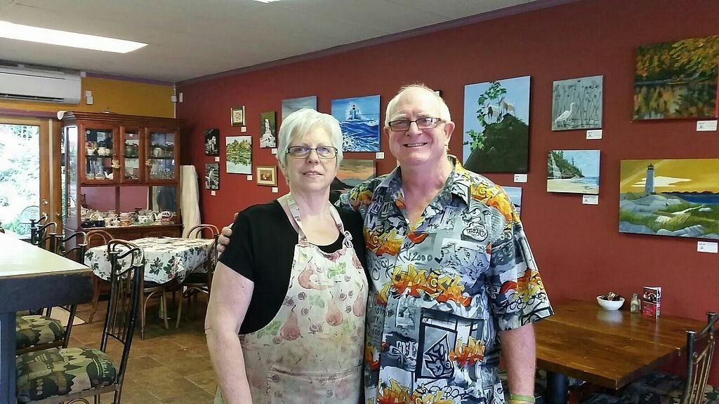 """Photo of Courtyard Cafe  by <a href=""""/members/profile/veganaurora"""">veganaurora</a> <br/>Friendly owners of the cafe <br/> August 18, 2017  - <a href='/contact/abuse/image/96665/293808'>Report</a>"""