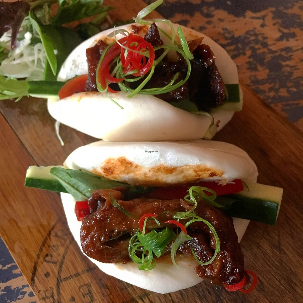 """Photo of Monsoon Thai Fusion  by <a href=""""/members/profile/SeitanSeitanSeitan"""">SeitanSeitanSeitan</a> <br/>Steamed open buns with crispy """"duck"""" <br/> December 1, 2017  - <a href='/contact/abuse/image/96671/331005'>Report</a>"""