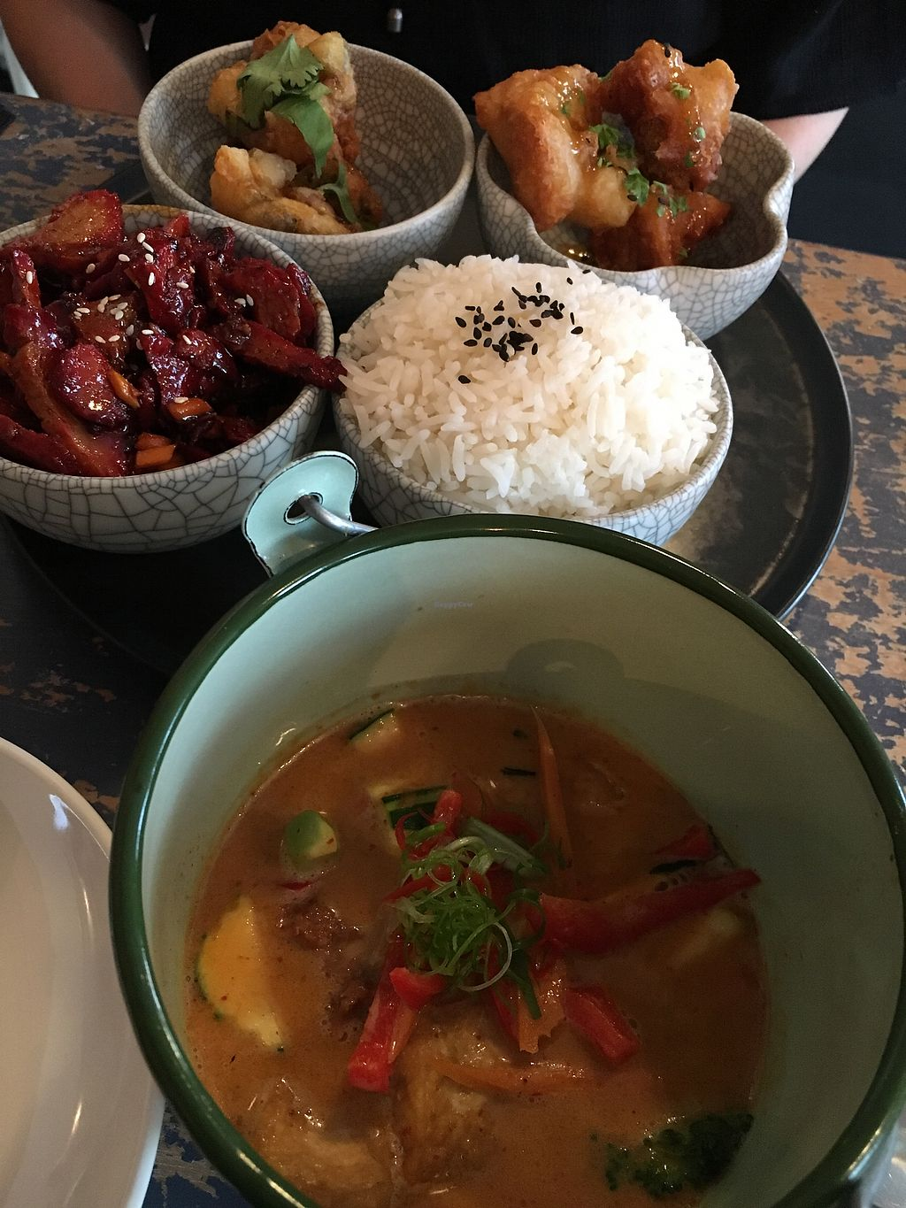 """Photo of Monsoon Thai Fusion  by <a href=""""/members/profile/SeitanSeitanSeitan"""">SeitanSeitanSeitan</a> <br/>Panang curry in front & bbq bento <br/> December 1, 2017  - <a href='/contact/abuse/image/96671/331007'>Report</a>"""