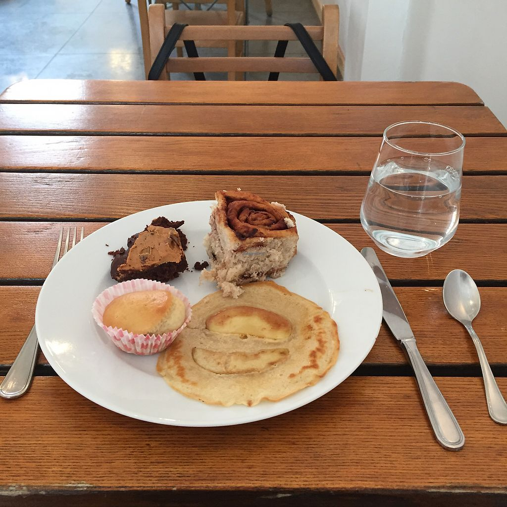 """Photo of The Judgy Vegan  by <a href=""""/members/profile/dwmerlin"""">dwmerlin</a> <br/>Peanut butter chocolate brownie, chocolate roll, lavender muffin, apple crep <br/> September 7, 2017  - <a href='/contact/abuse/image/96680/301709'>Report</a>"""