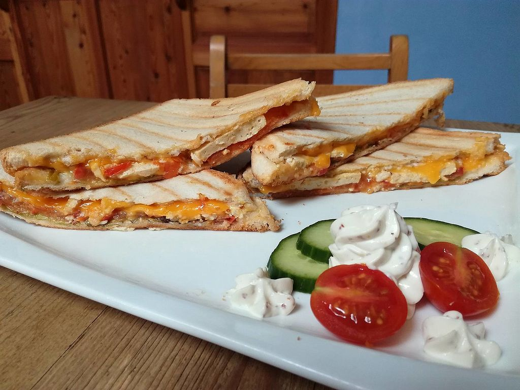 """Photo of The Judgy Vegan  by <a href=""""/members/profile/TheJudgyVegan"""">TheJudgyVegan</a> <br/>Our double grilled sandwich (breaded tofu, vegan cheese, tomatoes, mayo) is available at the price of 6,5€ <br/> October 12, 2017  - <a href='/contact/abuse/image/96680/314567'>Report</a>"""