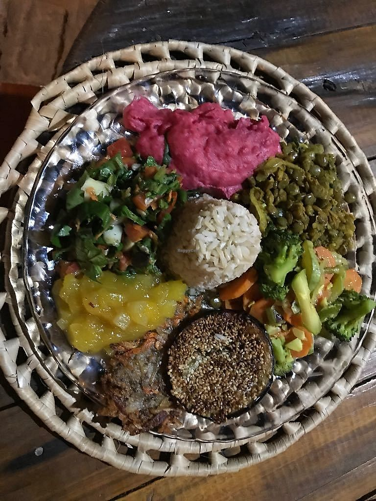 """Photo of Coco-Knots Kite Lodge  by <a href=""""/members/profile/Coco-Knots"""">Coco-Knots</a> <br/>Dinner is served: homemade potato-beetroot mash, curry lentils, coconut-milk veggies, fried eggplant in sesame, potato-carrot hash browns with mango chutney, a mixed spinach-rocket salad and brown rice.  <br/> July 20, 2017  - <a href='/contact/abuse/image/96692/282546'>Report</a>"""