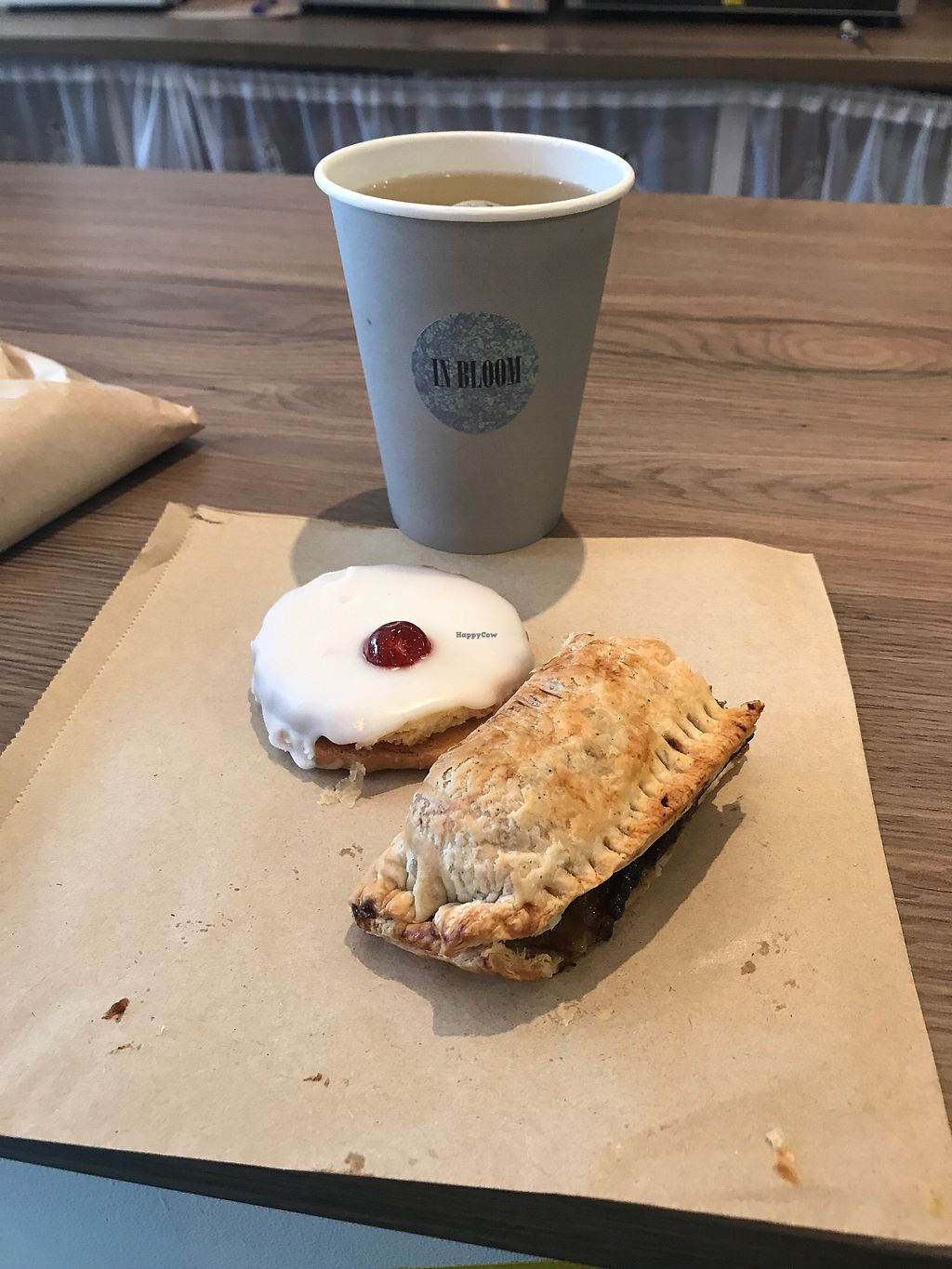 """Photo of In Bloom  by <a href=""""/members/profile/ClaireAlexander"""">ClaireAlexander</a> <br/>Amazing latte, empire biscuit and sausage roll.  <br/> December 1, 2017  - <a href='/contact/abuse/image/96713/331108'>Report</a>"""