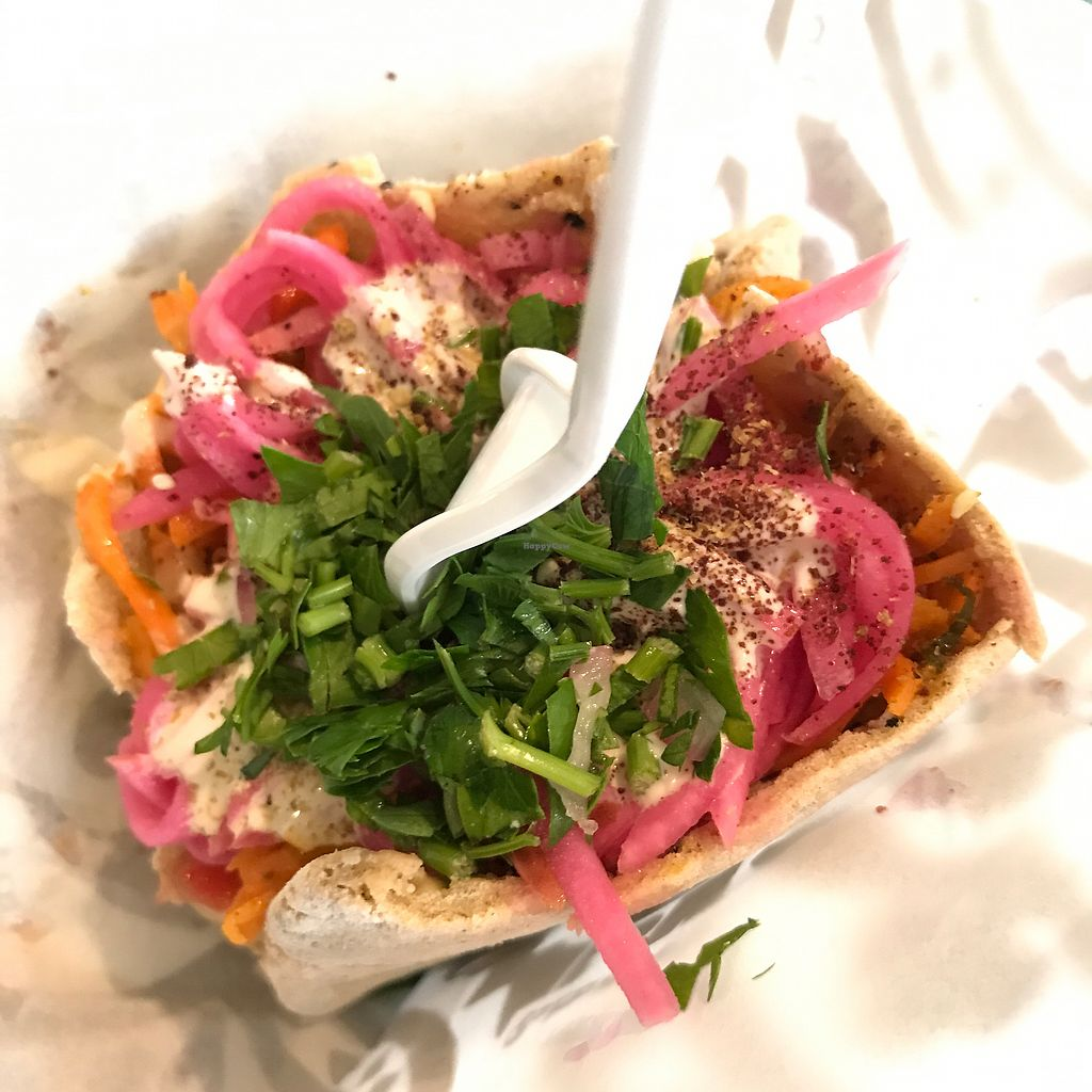 """Photo of Baba Nahm  by <a href=""""/members/profile/halfthejob"""">halfthejob</a> <br/>Baba Nahm's falafel pita (with humus, Israeli salad, pickled vegetables, Arab pickles, lettuce, parsley salad & lemon tahini): a hearty, fresh meal for a mere $4.95 <br/> August 15, 2017  - <a href='/contact/abuse/image/96765/292911'>Report</a>"""