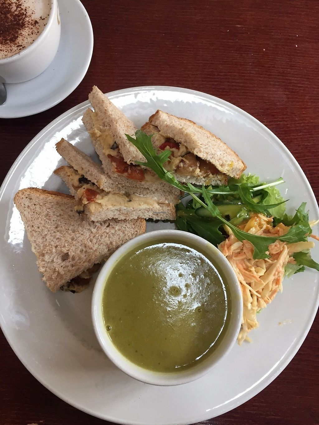 """Photo of Gillam's Tea Room  by <a href=""""/members/profile/stephenwelleruk"""">stephenwelleruk</a> <br/>Decent and tasty """"soup & sandwich"""" - Hummus & Roast Veg, with a Pea soup. Specialist coffee on the side (Spiced Orange Latte) <br/> May 15, 2017  - <a href='/contact/abuse/image/9676/259071'>Report</a>"""