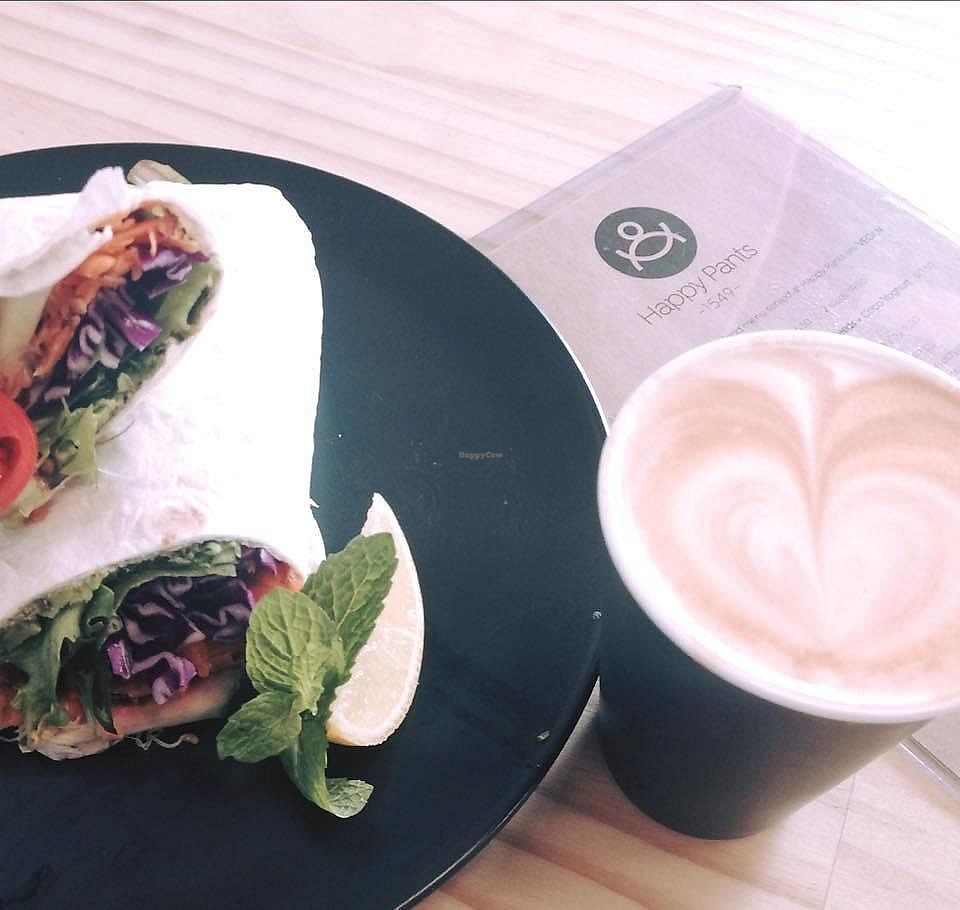 """Photo of Happy Pants 1549  by <a href=""""/members/profile/verbosity"""">verbosity</a> <br/>Vegan salad wrap packed with house made vegan pesto, avocado & cabbage <br/> July 21, 2017  - <a href='/contact/abuse/image/96796/283053'>Report</a>"""