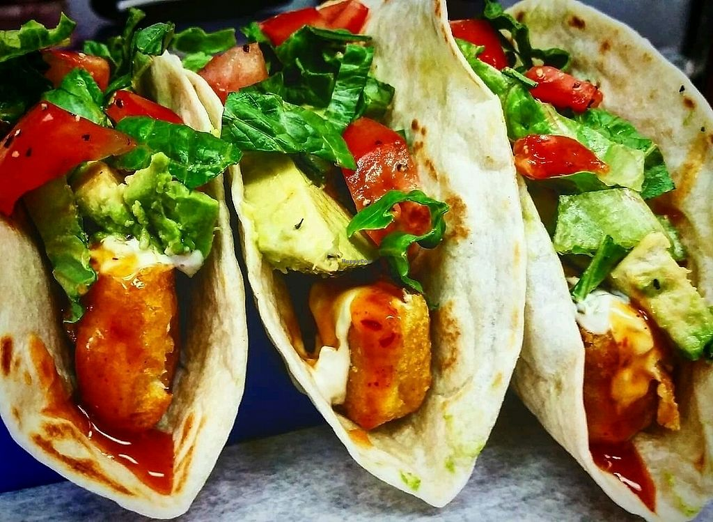 "Photo of D'Angelo's  by <a href=""/members/profile/DavidBaranowski"">DavidBaranowski</a> <br/>Vegan fish tacos with a vegan tarter sauce and mango habanero drizzle <br/> September 18, 2017  - <a href='/contact/abuse/image/96829/305734'>Report</a>"