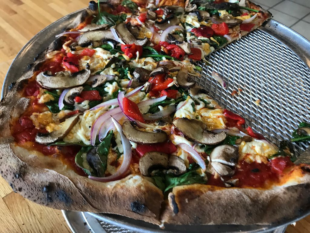 """Photo of The Wood Fired Pizza Shop  by <a href=""""/members/profile/imli"""">imli</a> <br/>Veegie Primo: mushrooms, spinach, red onions, roasted red peppers, tomatoes and vegan cheese <br/> July 23, 2017  - <a href='/contact/abuse/image/96875/283703'>Report</a>"""