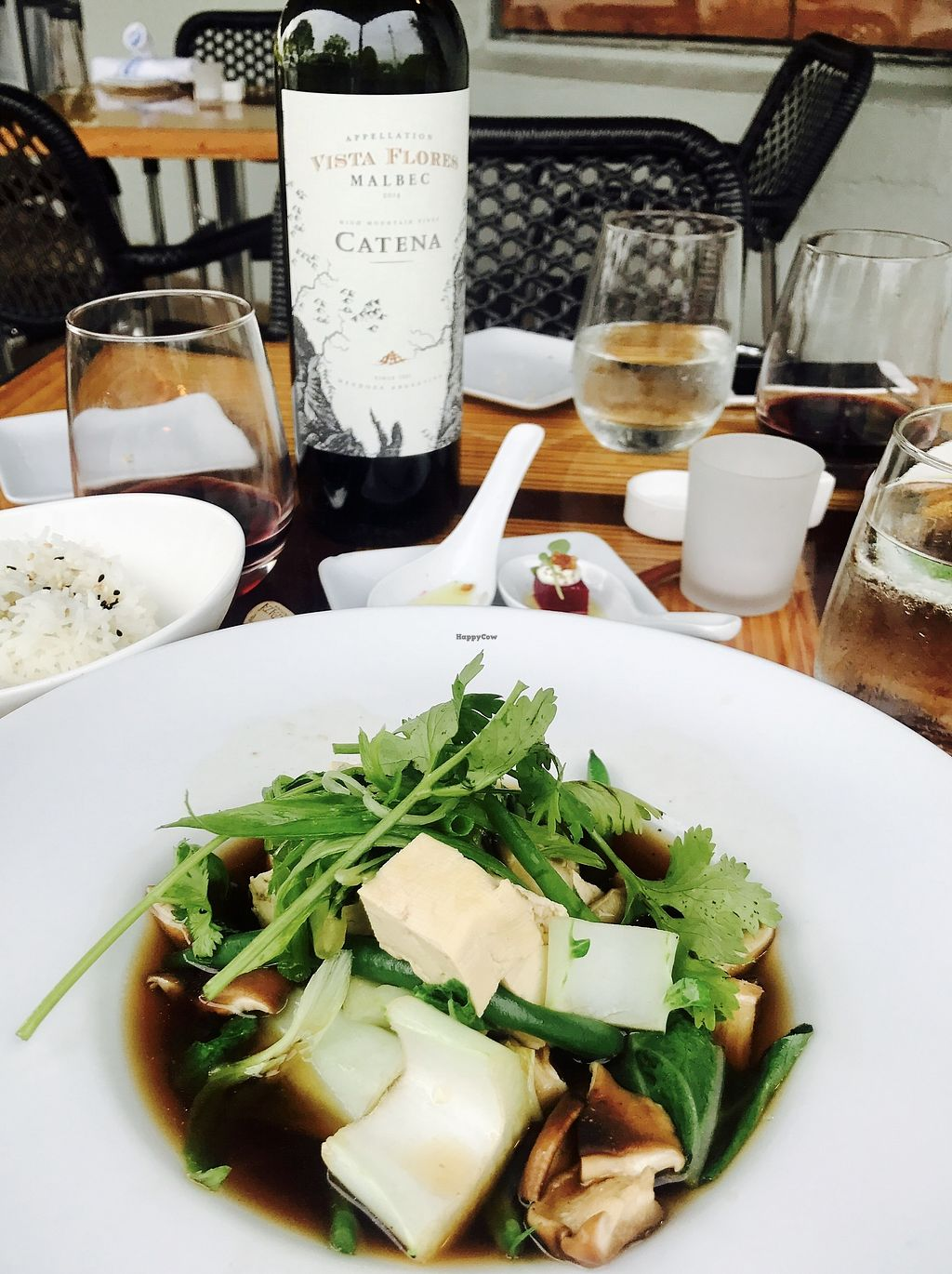"""Photo of Hardy Park Bistro  by <a href=""""/members/profile/JolantaThorburn"""">JolantaThorburn</a> <br/>Chinese Master Stock with Tofu, Shiitake Bok Choy, Asparagus and Jasmine Rice <br/> July 23, 2017  - <a href='/contact/abuse/image/96882/283734'>Report</a>"""