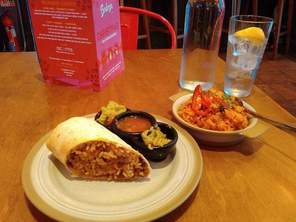 """Photo of Bodega Cantina  by <a href=""""/members/profile/Roevin46"""">Roevin46</a> <br/>Vegan Burrito with a side of Dirty Rice <br/> September 27, 2017  - <a href='/contact/abuse/image/96897/309221'>Report</a>"""