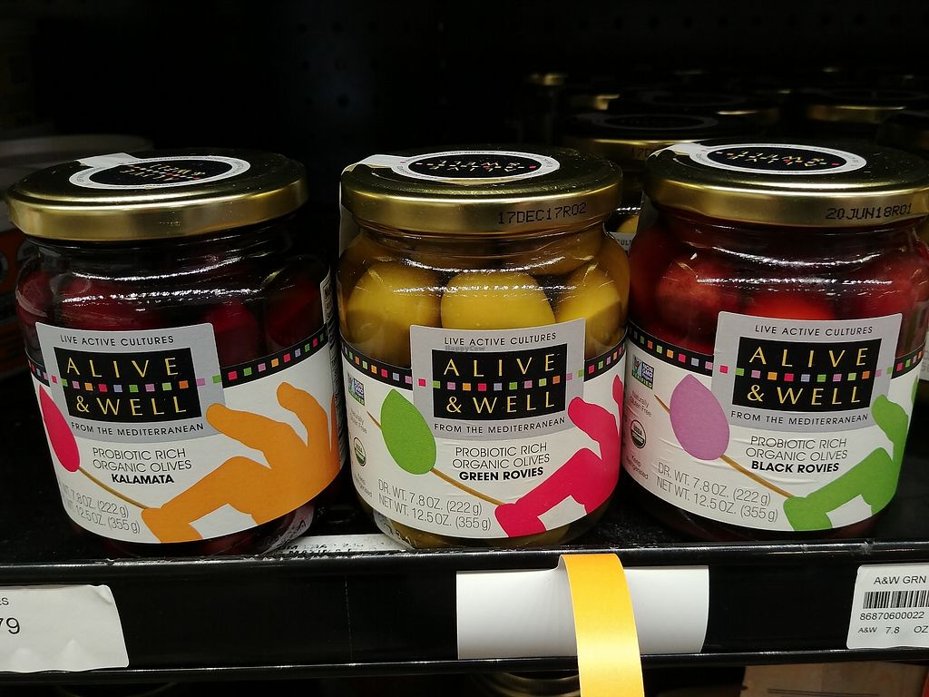 """Photo of Choices Natural Market  by <a href=""""/members/profile/PlantSim"""">PlantSim</a> <br/>Naturally fermented probiotic olives! They sell a ton of fermented foods like krauts, pickles, kombuchas, vegan coconut water kefirs, cultured non-dairy yogurt, and even cultured vegan butters and cheeses. They sell started cultures too in the fridge <br/> August 22, 2017  - <a href='/contact/abuse/image/9689/296004'>Report</a>"""