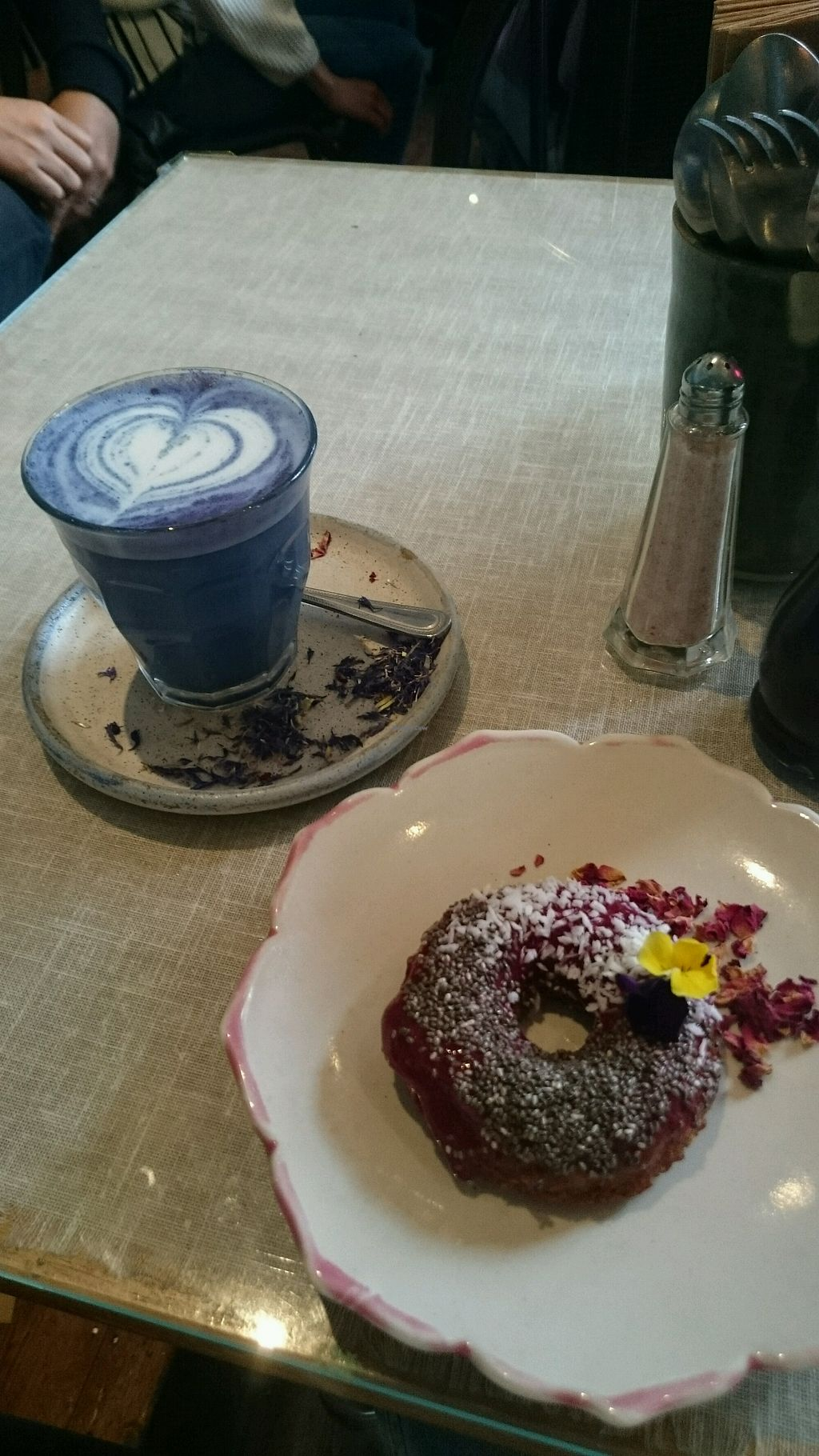 """Photo of Farm Girl Cafe  by <a href=""""/members/profile/Layra"""">Layra</a> <br/>vegan donut and butterfly matcha <br/> May 17, 2018  - <a href='/contact/abuse/image/96921/400873'>Report</a>"""