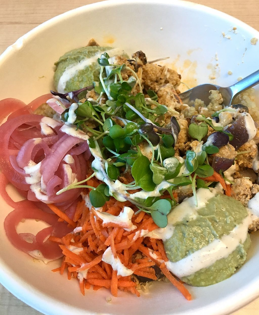 """Photo of Glory Juice - W 4th  by <a href=""""/members/profile/vegan%20frog"""">vegan frog</a> <br/>Roasted cauliflower salad <br/> October 13, 2017  - <a href='/contact/abuse/image/96928/314722'>Report</a>"""
