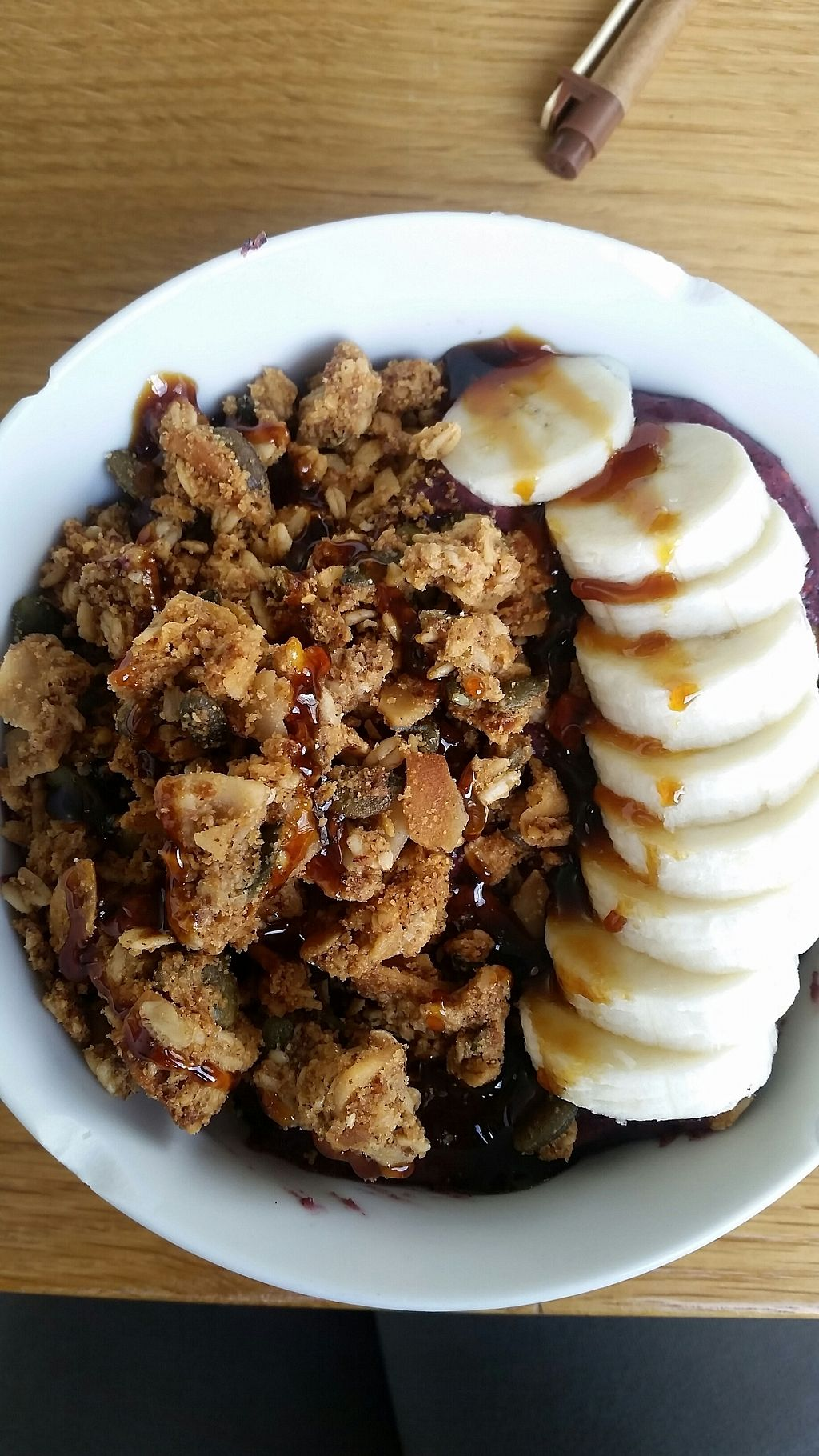 """Photo of Glory Juice - Olympic Village  by <a href=""""/members/profile/VeganForSnow"""">VeganForSnow</a> <br/>Acai bowl with coconut syrup on top yum yum <br/> September 19, 2017  - <a href='/contact/abuse/image/96929/305929'>Report</a>"""