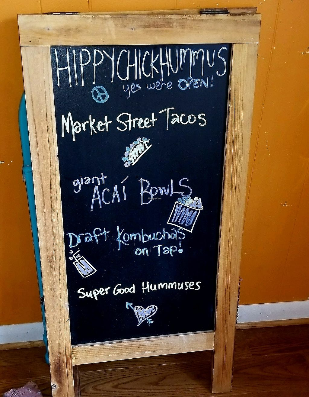 """Photo of Hippy Chick Hummus  by <a href=""""/members/profile/mvineyard"""">mvineyard</a> <br/>Hippy Chick Menu board <br/> October 9, 2017  - <a href='/contact/abuse/image/96930/313743'>Report</a>"""