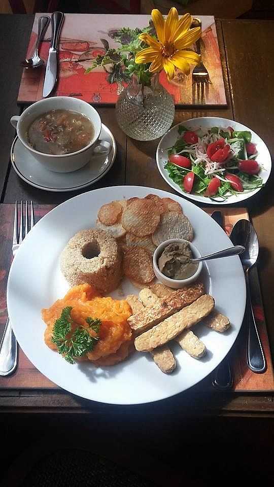 """Photo of Nacasadela  by <a href=""""/members/profile/community5"""">community5</a> <br/>Tempeh with babaganoush, mashed potatoes, quinoa yam chips, lentils, organic salad <br/> July 25, 2017  - <a href='/contact/abuse/image/96934/284582'>Report</a>"""