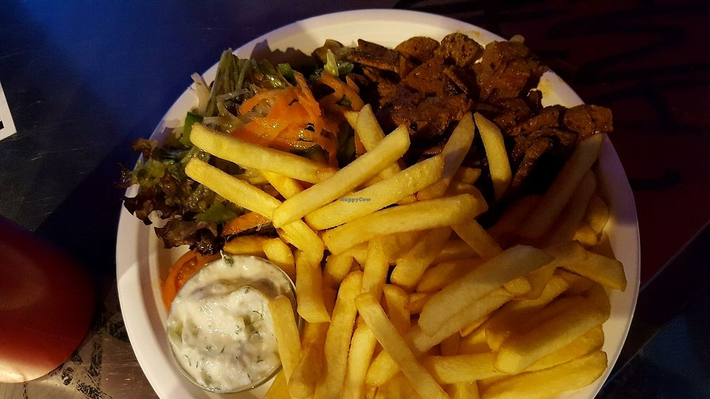 """Photo of Backbord Vegan  by <a href=""""/members/profile/emse"""">emse</a> <br/>M5 on the menu. Fries, salad with lovely dressing, tzaziki and gyros ? <br/> March 10, 2018  - <a href='/contact/abuse/image/96950/368986'>Report</a>"""