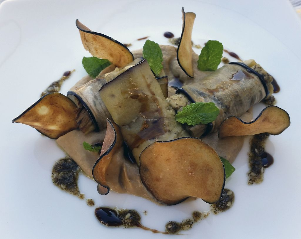 """Photo of Passió Mediterrània  by <a href=""""/members/profile/aleixp"""">aleixp</a> <br/>AUBERGINES MMM  Eggplant textures with miso, honey (can be retired) and mint   <br/> July 25, 2017  - <a href='/contact/abuse/image/96959/284617'>Report</a>"""