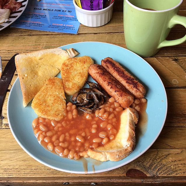 """Photo of The Black Cauldron  by <a href=""""/members/profile/Superteebs"""">Superteebs</a> <br/>full vegan breakfast with coffee and soya milk <br/> July 26, 2017  - <a href='/contact/abuse/image/97005/284878'>Report</a>"""