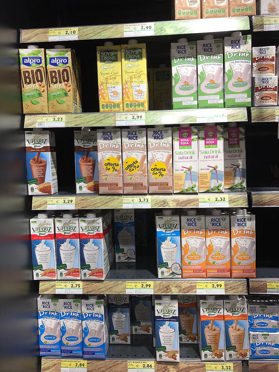 "Photo of Meta Supermercato  by <a href=""/members/profile/PepaKovacs"">PepaKovacs</a> <br/>Vegan Milks <br/> August 18, 2017  - <a href='/contact/abuse/image/97022/294022'>Report</a>"