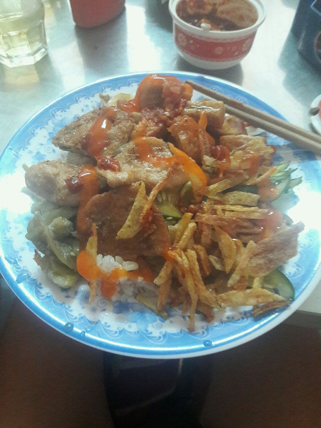 """Photo of Au Lac Chay  by <a href=""""/members/profile/swaadly"""">swaadly</a> <br/>20 000VND for a plate of mock meats, veg, rice and a small soup.  <br/> October 7, 2017  - <a href='/contact/abuse/image/9702/312608'>Report</a>"""