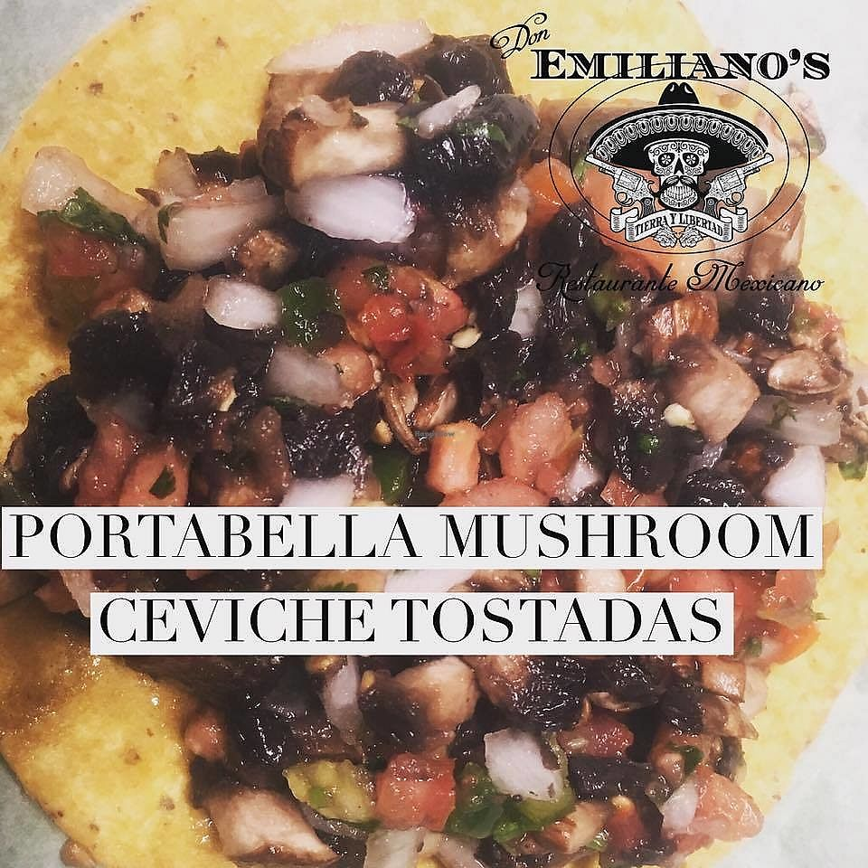 "Photo of Don Emiliano's Restaurante Mexicano  by <a href=""/members/profile/MarcelaRenae"">MarcelaRenae</a> <br/>Mushroom Ceviche Tostadas <br/> July 25, 2017  - <a href='/contact/abuse/image/97060/284760'>Report</a>"
