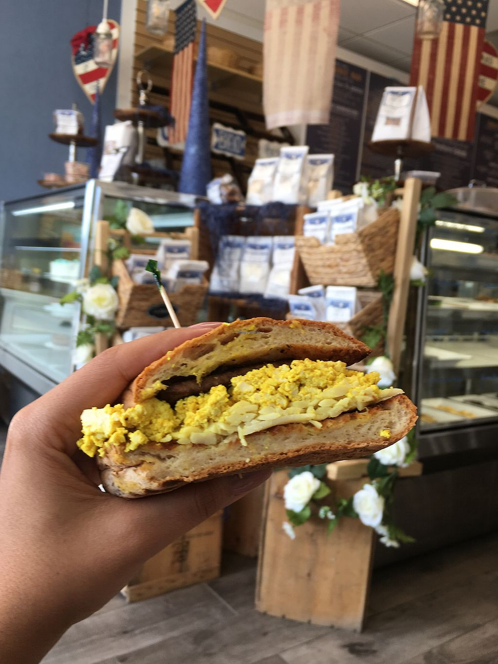 "Photo of Bare Buns Bakery  by <a href=""/members/profile/krpm123"">krpm123</a> <br/>Best vegan breakfast sandwich!  <br/> September 10, 2017  - <a href='/contact/abuse/image/97063/302971'>Report</a>"