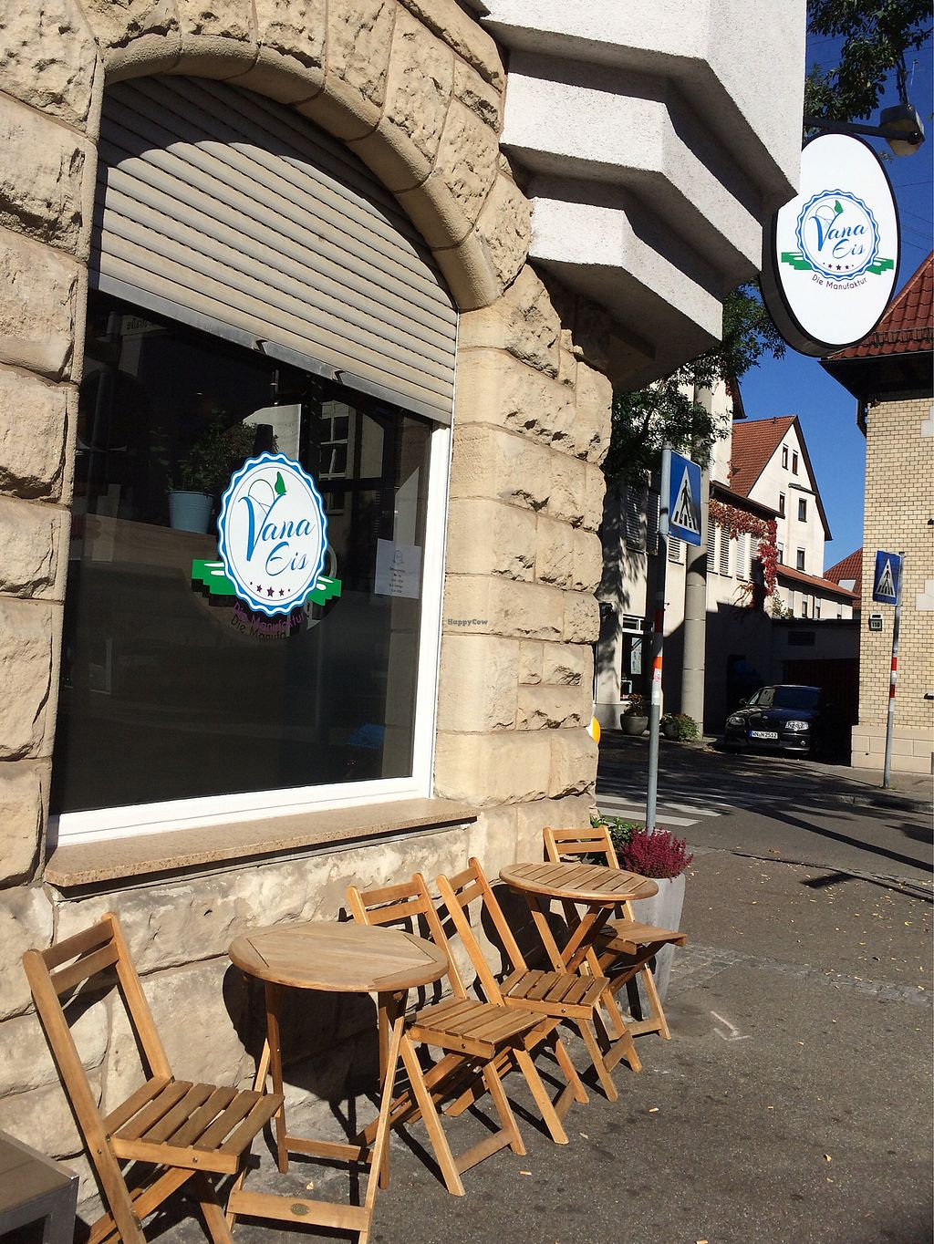 """Photo of Vana Eis - Die Manufaktur  by <a href=""""/members/profile/Carissima"""">Carissima</a> <br/>Wooden tables in front of ice cream parlor  <br/> October 14, 2017  - <a href='/contact/abuse/image/97074/315051'>Report</a>"""