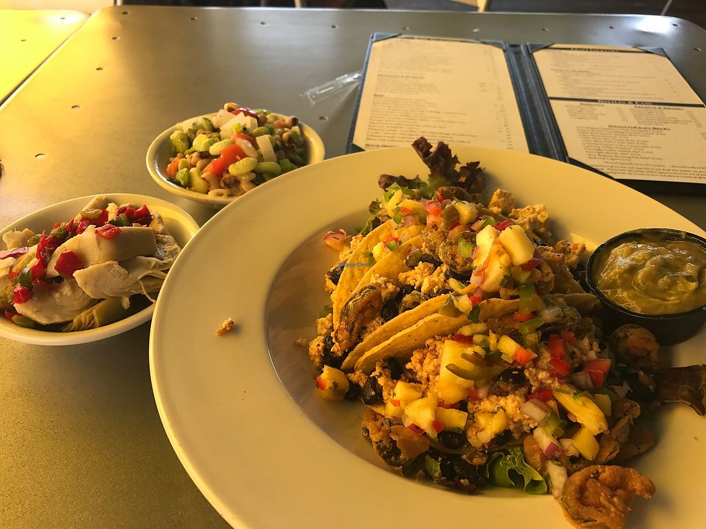 """Photo of The George on the Riverwalk  by <a href=""""/members/profile/angelcrowe"""">angelcrowe</a> <br/>The vegan tacos consist of 3 seasoned tofu hard shells and two side dishes - great southern options. Large portions <br/> July 26, 2017  - <a href='/contact/abuse/image/97120/285193'>Report</a>"""