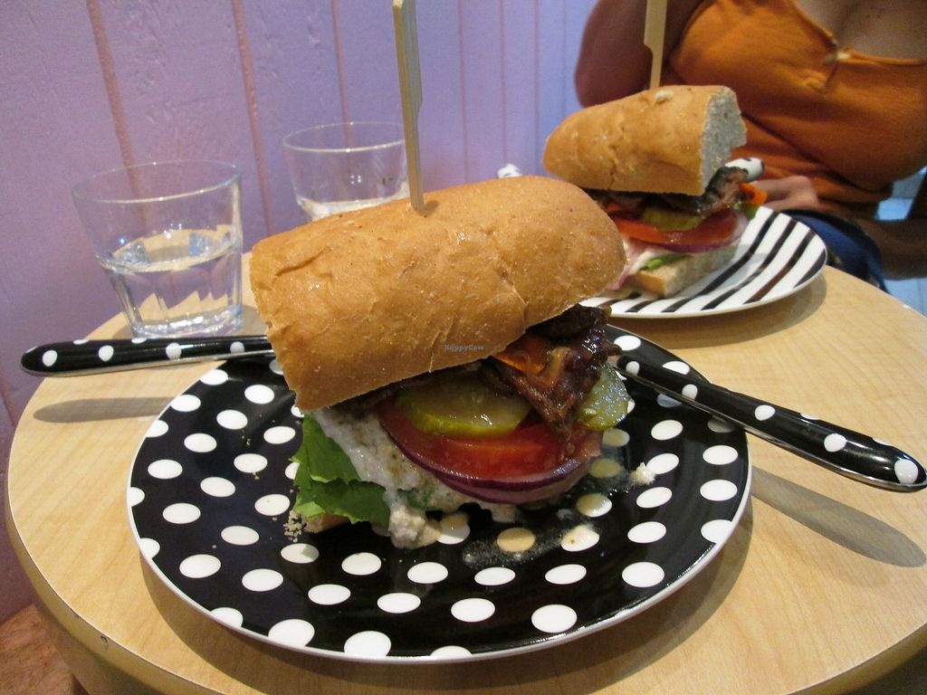 """Photo of cafe de kuro  by <a href=""""/members/profile/vitalvegan"""">vitalvegan</a> <br/> Cafe de Kuro burger <br/> August 27, 2017  - <a href='/contact/abuse/image/97153/297775'>Report</a>"""