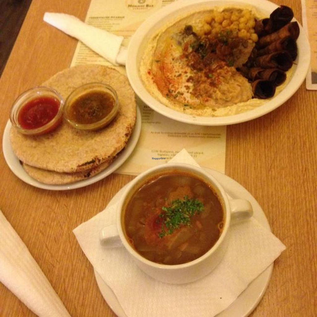 "Photo of Hummus Bar Vegetarian - Hollan Erno  by <a href=""/members/profile/littlepandi"">littlepandi</a> <br/>Hummus plate with pita, lentil soup <br/> August 20, 2014  - <a href='/contact/abuse/image/9715/77557'>Report</a>"