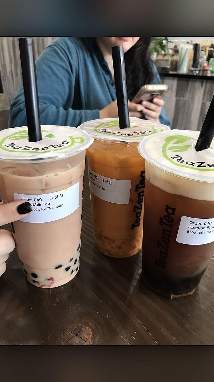 "Photo of TeaZenTea  by <a href=""/members/profile/Alliecat"">Alliecat</a> <br/>Taro Milk Tea, Thai tea and Passionfruit Tea  <br/> July 26, 2017  - <a href='/contact/abuse/image/97163/285242'>Report</a>"
