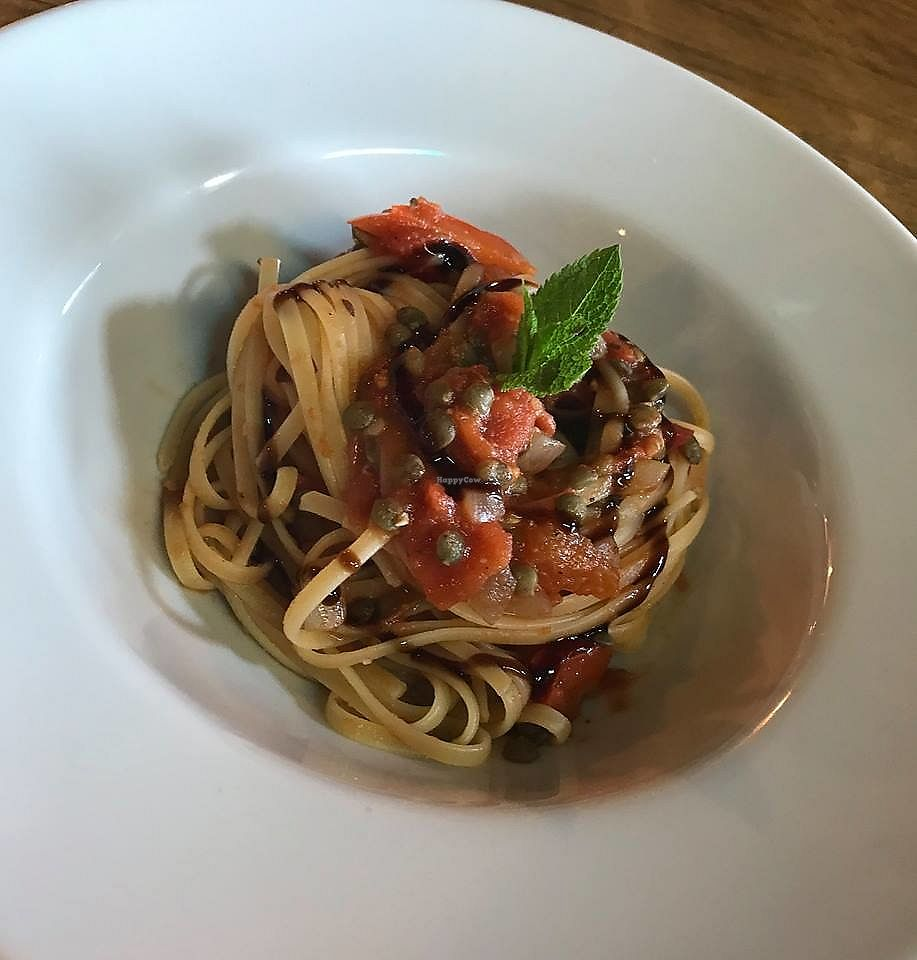 """Photo of The New Plough  by <a href=""""/members/profile/community5"""">community5</a> <br/>Vegan Lentil Bolognese with Tagliatelle and Balsamic Dressing <br/> July 30, 2017  - <a href='/contact/abuse/image/97167/286469'>Report</a>"""