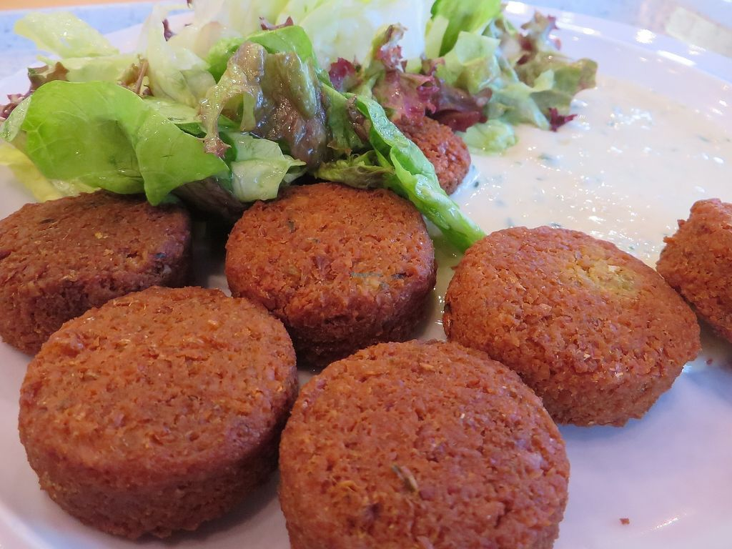 """Photo of Mensacafe  by <a href=""""/members/profile/VegiAnna"""">VegiAnna</a> <br/>falafel with sesame herb dip accompanied by lettuce (vegan) <br/> August 10, 2017  - <a href='/contact/abuse/image/97169/291162'>Report</a>"""