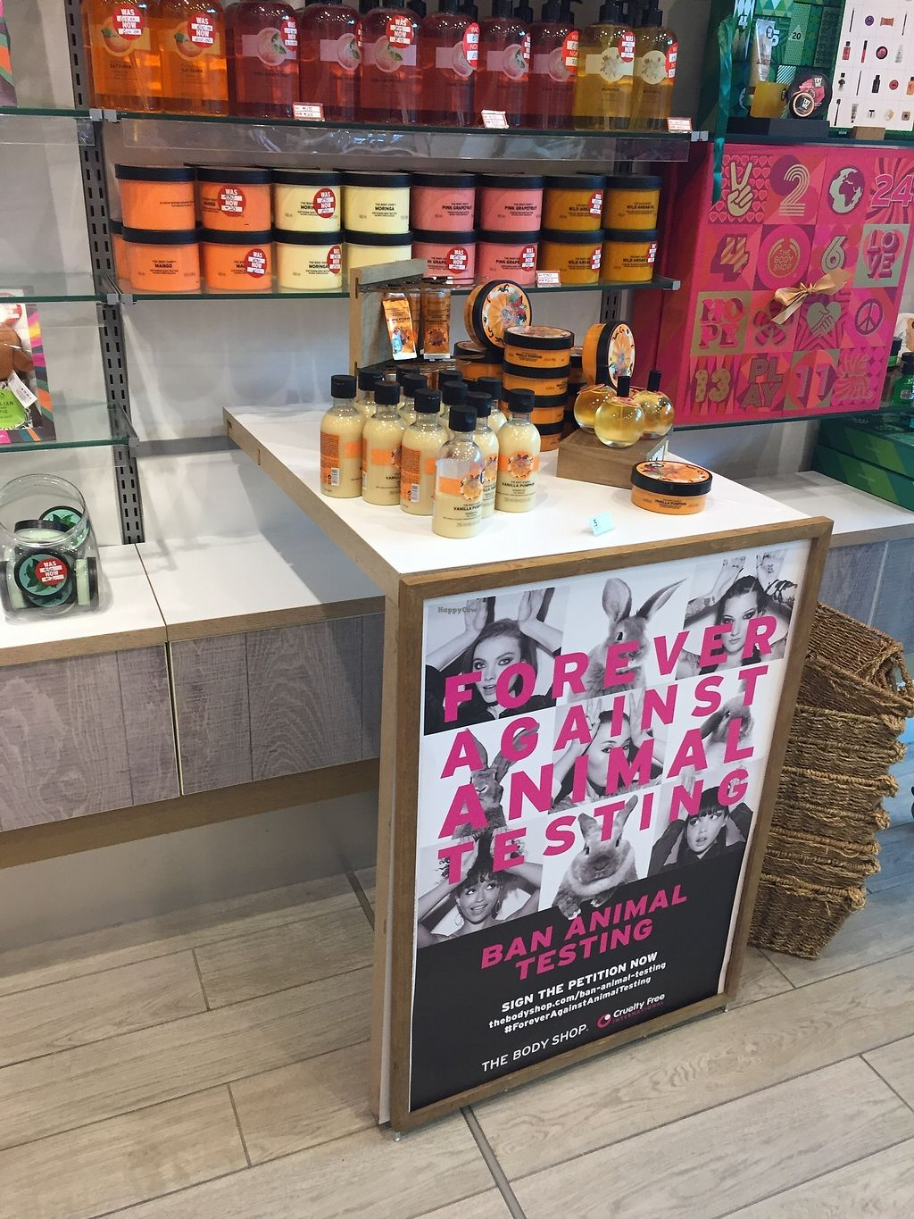 """Photo of The Body Shop  by <a href=""""/members/profile/TARAMCDONALD"""">TARAMCDONALD</a> <br/>Against animal testing campaign <br/> October 24, 2017  - <a href='/contact/abuse/image/97175/318483'>Report</a>"""