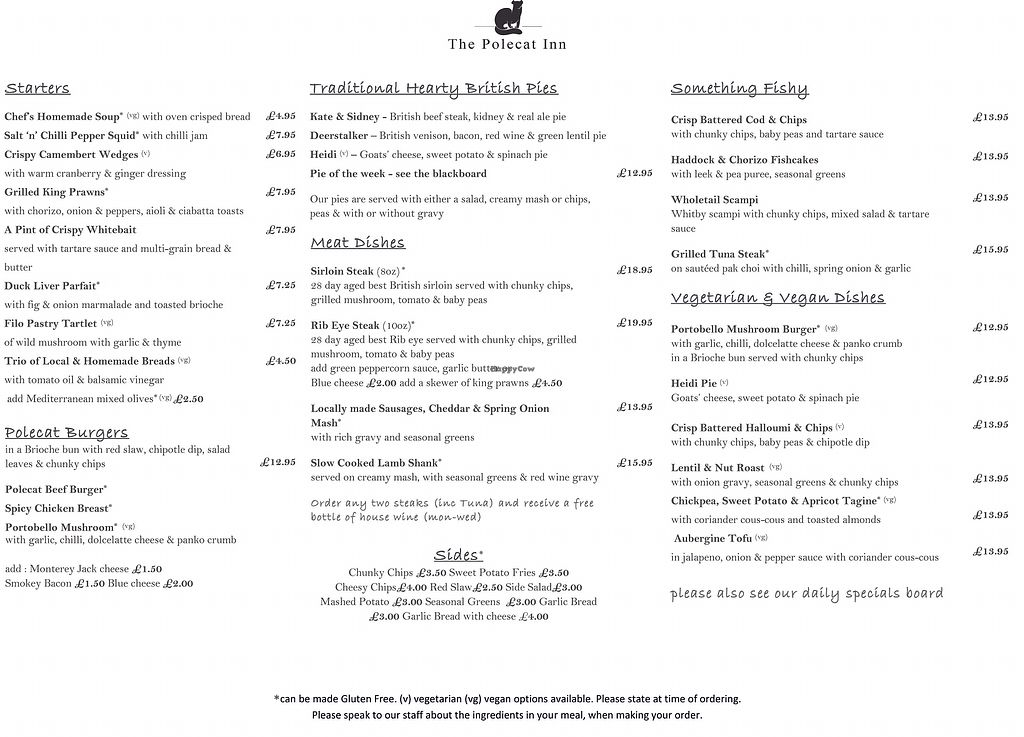 "Photo of The Polecat Inn  by <a href=""/members/profile/LouiseWhitehouse"">LouiseWhitehouse</a> <br/>New Menu at The Polecat which has 3 vegan starters, 5 vegan main courses and 2 vegan puddings! Lots of interesting vegetarian dishes also <br/> October 18, 2017  - <a href='/contact/abuse/image/97184/316317'>Report</a>"