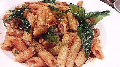 """Photo of Breda Murphy Restaurant  by <a href=""""/members/profile/Veganolive1"""">Veganolive1</a> <br/>Penne pasta with roast plum tomato sauce, pine nuts & fried basil <br/> July 26, 2017  - <a href='/contact/abuse/image/97203/285196'>Report</a>"""