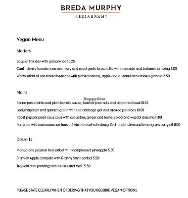 """Photo of Breda Murphy Restaurant  by <a href=""""/members/profile/Veganolive1"""">Veganolive1</a> <br/>Vegan Menu <br/> July 26, 2017  - <a href='/contact/abuse/image/97203/285203'>Report</a>"""