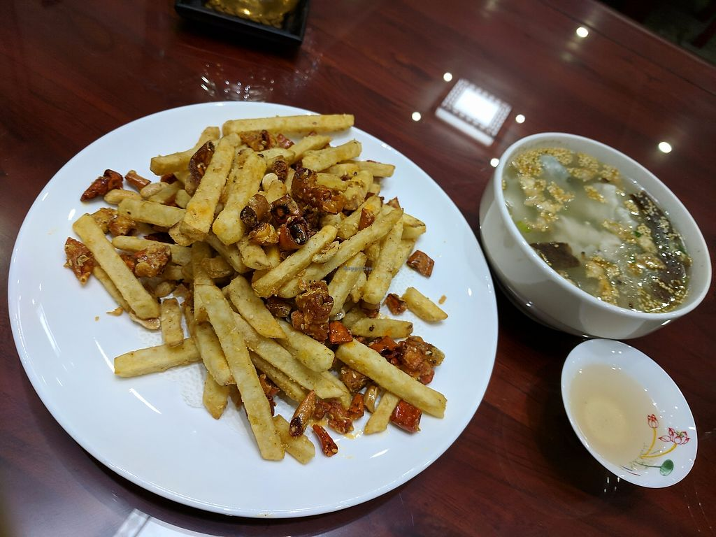 """Photo of Shangdao Vegetarian  by <a href=""""/members/profile/WLB4"""">WLB4</a> <br/>Those great fries!  <br/> October 28, 2017  - <a href='/contact/abuse/image/97205/319611'>Report</a>"""