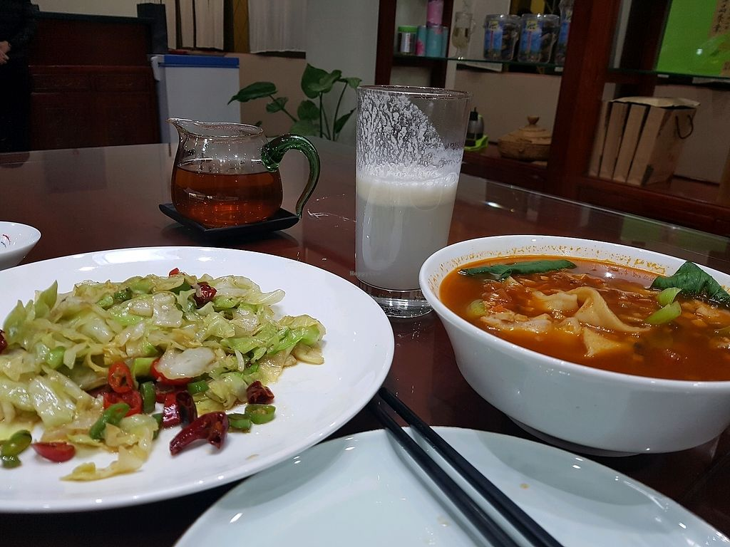 """Photo of Shangdao Vegetarian  by <a href=""""/members/profile/Ongoloid"""">Ongoloid</a> <br/>ricemilk, noodles in broth and my all time favorite; Chinese cabbage   <br/> November 5, 2017  - <a href='/contact/abuse/image/97205/321978'>Report</a>"""