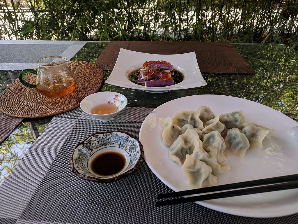 """Photo of Shangdao Vegetarian  by <a href=""""/members/profile/Emmzilee"""">Emmzilee</a> <br/>vege dumplings and spicy eggplant  <br/> April 19, 2018  - <a href='/contact/abuse/image/97205/388164'>Report</a>"""