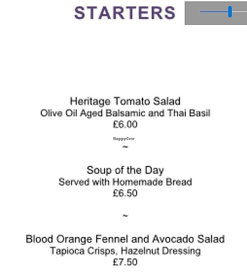 """Photo of Mitton Hall Hotel  by <a href=""""/members/profile/Veganolive1"""">Veganolive1</a> <br/>Starter Vegan Menu <br/> July 26, 2017  - <a href='/contact/abuse/image/97216/285205'>Report</a>"""
