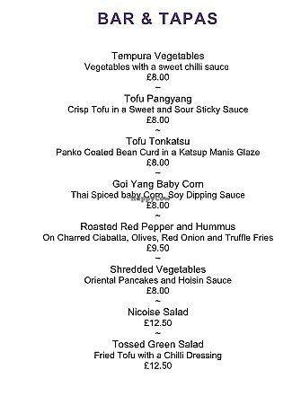 """Photo of Mitton Hall Hotel  by <a href=""""/members/profile/Veganolive1"""">Veganolive1</a> <br/>Bar & Tapas Vegan menu <br/> July 26, 2017  - <a href='/contact/abuse/image/97216/285206'>Report</a>"""